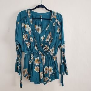 Free People Tunic Peasant Floral Blouse Tunic Top